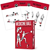 Medicine Ball Exercise Cards, Set of 62 :: for a High Intensity Home or Gym Workout :: 50 Exercises for All Fitness Levels :: Extra Large 3.5 x 5, Waterproof & Durable, with Diagrams & Instructions