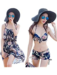 [Iypurkmn] 水着 レディース ビキニ 3点セット 体型カバー 着痩せ 胸パット付 ワイヤー 温泉旅行