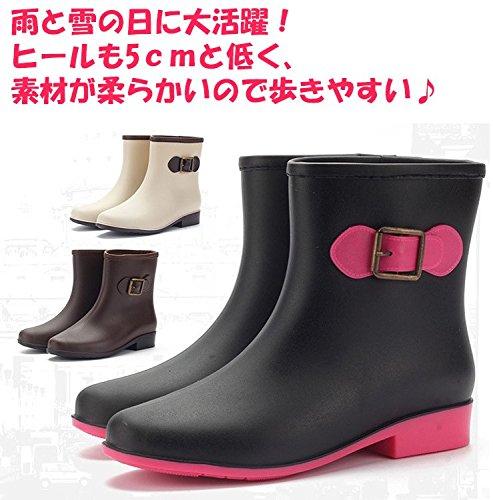 【Ludus Felix】レインブーツ レインシューズ ショートレインブーツ レディース長靴 全3色 黒・茶・ベージュ 23~25cm (23.5cm, ブラウン)