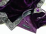 タロットクロス 高級 ベルベット タイプ ミステリアスパープル 銀糸刺繍の縁取り 【WL Products】tc055