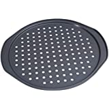 Alices Latest 14 Inch Nonstick Carbon Steel Pizza Pan Bakeware with holes Pizza Baking Pan for Oven Baking Supplies(35x33x1.5