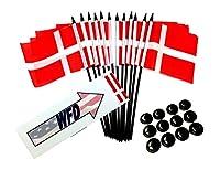 """12個パック4"""" x6"""" Denmarkミニチュアデスク&テーブルフラグ、1ダース4"""" x 6""""デンマークSmall Mini Stickフラグ Flags with Stands"""
