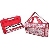 KC 鍵盤ハーモニカ (メロディーピアノ) レッド P3001-32K/RD + 鍵ハモバッグ[Girly Flower] 付属セット