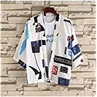 Japanese Five-Point Sleeves Kimono Cardigan Men and Women Lovers Loose Thin Section Half Sleeve CQQO (Color : 1, Size : XL)