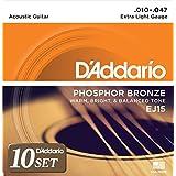 D'Addario ダダリオ アコースティックギター弦 フォスファーブロンズ Extra Light .010-.047 EJ15 x 10セット 【国内正規品】
