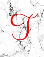 T: Monogram Initial T Notebook for Women, Girls and School: Marble and Red