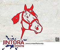 JINTORA ステッカー/カーステッカー - Horse head - 馬頭 - 89x101mm - JDM/Die cut - 車/ウィンドウ/ラップトップ/ウィンドウ- 赤