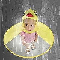 レインコート ダッキー EVA無毒 無臭 女の子 男の子 キッズ バイザー付き 雨合羽 UFOキャップ型 創意 個性的 目立つ raincoat 子供用 梅雨対策 防水 通園 通学 雨具 持ち運びに便利 (M)