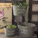 ガーデン雑貨 プランシュ ハングポット3サイズセット ブリキ缶 アンティーク調 ガーデニング雑貨