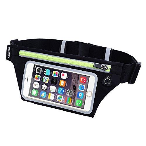 LESGO ランニングポーチ ランニング&サイクリング用 ベルト ウエストバッグ 防水 指紋認証対応 高感度タッチスクリーン 伸縮ベルト 軽量 iPhone X/8/7/6/Plus Galaxy Sonyなど6インチまで全機種対応 ブラック×グリーン