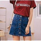 JCHJPN デニムスカートハイウエストAラインミニスカートの女性の2020年夏の シングルボタンはブルージーンスカートスタイルサイアジーンズポケット (Color : Blue, Size : Small)