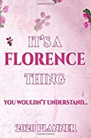 FLORENCE: Personalised Name Planner 2020 Gift For Women & Girls 100 Pages (Pink Floral Design) 2020 Weekly Planner Monthly Planner
