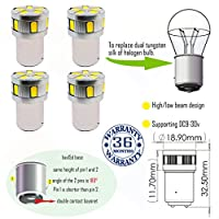 Wiseshine bax15d 11smd 5630 DC9-30v 電球 高/低輝度 3年間の品質保証(4パック) 高/低輝度 bax15d 11smd 5630 緑