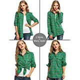 Corgy Women Casual Cool Boyfriend Roll Up Sleeve Loose Style Button Down Shirt