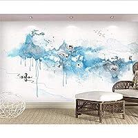Wuyyii ファッションパーソナリティシルキー壁紙3D落書きインク風景鹿現代家族テレビの背景3Dの壁紙3D-280X200Cm