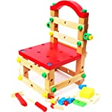 Wooden Nuts and Bolts Building Set and Bench- Construction Kits for Kids