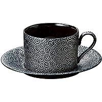 宗峰窯 コーヒーカップ 黒渦切立 カップアンドソーサー カップ:φ8.7×6cm(210cc) ソーサー:φ15.6cm 744-25-683