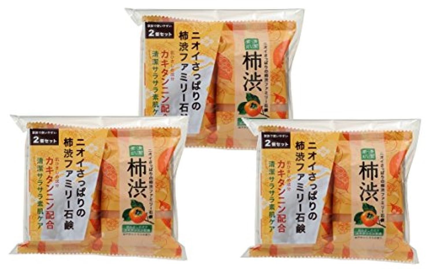 顕著ファブリック汚染するペリカン石鹸 ファミリー 柿渋石けん (80g×2個) ×3個パック