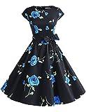 ドレッシースター 1956スイングワンピース レトロ ドレス 50年代 ロカビリー ベルト付き レディーズ ブラック ブルー フラワー Sサイズ