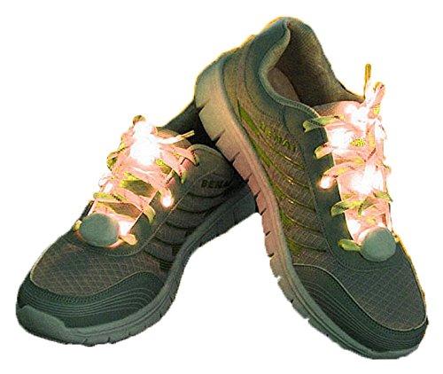 夜 の ランニング に 最適 LED 搭載 光る 魔法 の 靴ひも 靴紐 左右 セット 【 グリーン...