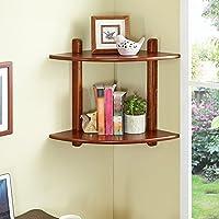 木製コーナーウォール収納棚トライアングルブック、2色ご用意、1層/ 2層