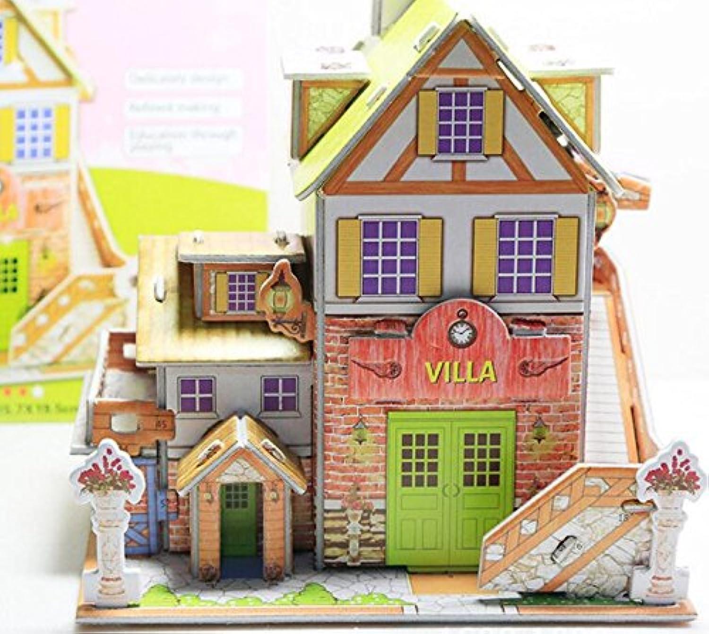 HuaQingPiJu-JP 創造的な教育3Dパズルアーリーラーニングシェイプカラー動物玩具子供のための素晴らしいギフト(フランスのヴィラ)