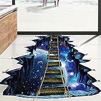 E-Bears 3D宇宙星空跳ね橋床のステッカー自己粘着ウオールステッカーウオールステッカー壁飾り部屋装飾冒険 (青)