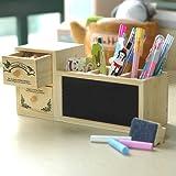 便利で カワイイ 黒板 & 引き出し 付き 多機能 木製 収納ケース
