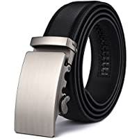 """Wetoper Men's Ratchet Leather Belt Solid Buckle with Automatic 35mm Wide 1 3/8"""""""