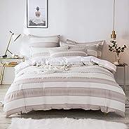 Merryfeel Cotton Quilt Cover Set,100% Cotton Yarn Dyed Woven Seersucker Doona Cover Set Queen -Multi