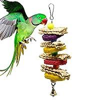 鳥の噛むおもちゃ、オウムの手袋ぬいぐるみ手作りの咬傷球スイカトウモロコシの葉ツイスト涙のカラフルなビーズ大中小ペット鳥のおもちゃ