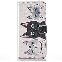 Galaxy S6 edge ケース 手帳型  docomo SC-04G au SCV31 ケース  猫 ストラップホール付き スタンド機能付き スマホカバー マグネット付き 汚れにくい シンプル カード収納 TPU 耐衝撃 ギャラクシーS6エッジ ケース カバー (Galaxy S6edge, 三つ可愛猫)