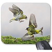 丈夫なゲームマウスパッド、2匹の緑色の灰色の鳥は飛んでマウスパッドを印刷しています