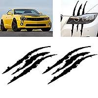 FidgetGear 2ピース38センチ車のヘッドランプブラックビニールアイキャッチステッカークローマークデカールステッカー