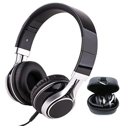 ヘッドホン ヘッドフォン 音楽 Ecaslo高音質ヘッドホン 折りたたみ式 軽量 有線ヘッドセット イヤホン 密閉型 おしゃれ マイク内蔵 収納ケース付き 持ち運び便利 ヘッドアーム伸縮可能 ケーブル着脱式 ブラック