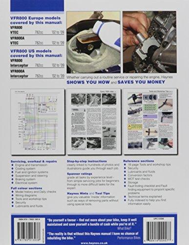 Honda VFR800 VTEC '02 to '09 (Haynes Service & Repair Manual)