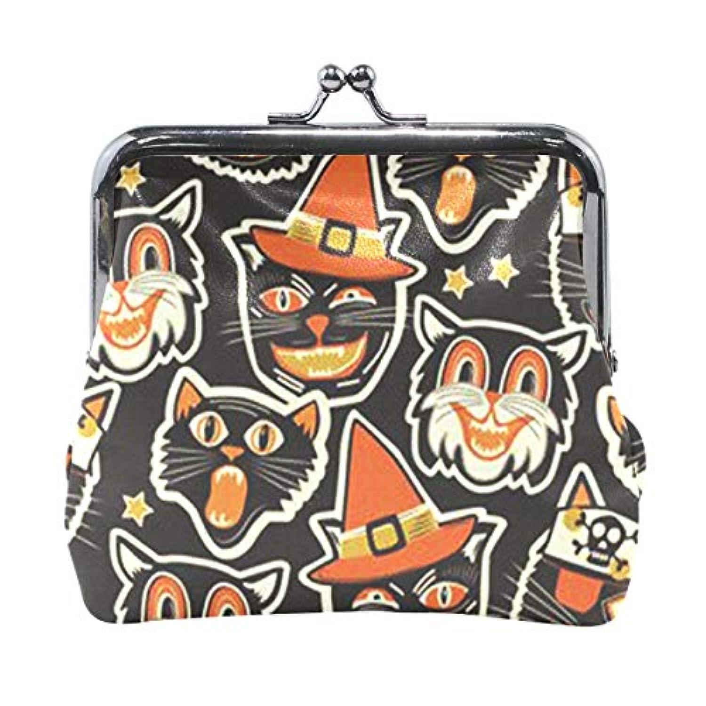 がま口 小銭入れ 財布 ハロウィン 黒猫 コインケース レザー製 丸形 軽量 人気 おしゃれ プレゼント ギフト 雑貨