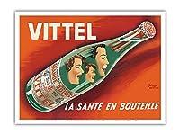 ヴィッテル - 健康ボトル - フランスからのナチュラルミネラルウォーター - ビンテージな広告ポスター によって作成された ピエール・ベレンジャーおよびエマニュエル・ガイヤール c.1950s - アートポスター - 23cm x 31cm