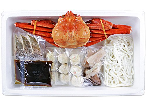 紅ズワイまるごと海鮮鍋(紅ズワイガニ1尾)紅ずわいかに するめいか すけそうだら つみれ うどん えび魚醤油入りたれ海鮮鍋北海道産紅ずわい蟹