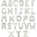 装飾?演出バルーン 16インチ 約30センチ アルミ シルバー 文字 バルーン アルファベット 組み合わせ 自由 誕生日 開店 祝い 名前 (O:シルバー)