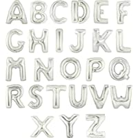 装飾?演出バルーン 16インチ 約30センチ アルミ シルバー 文字 バルーン アルファベット 組み合わせ 自由 誕生日 開店 祝い 名前 (R:シルバー)