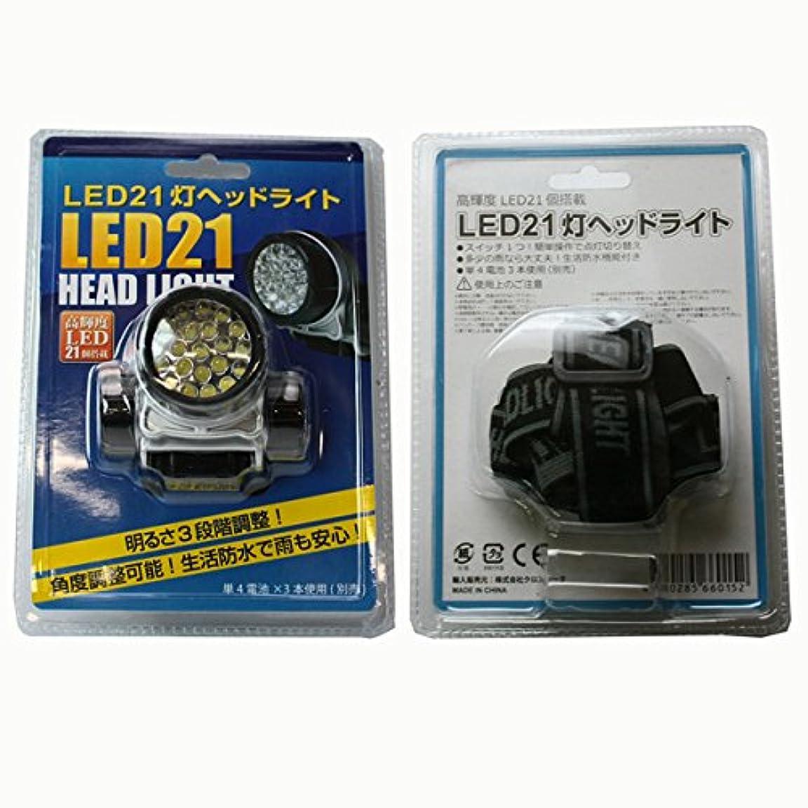 密度ランダム流行LED21灯ヘッドライト シルバー&ブラックカラー 4段切替の便利なヘッドライト