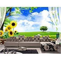 Wuyyii 3D壁紙カスタム壁画不織布ウォールステッカー3 D美しい四季春の草絵画写真3D壁壁画壁紙