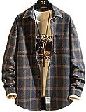 メンズシャツ ギンガムチェックシャツ 長袖 チェック柄 折襟 ゆったり 吸汗 大きいサイズ 春夏秋 クラシック カジュアル オシャレ Pinkpum M