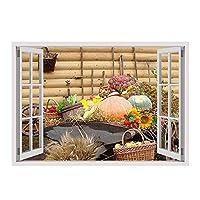 "Alonlineアート–Harvesting Pumpkins Fake 3dウィンドウフレーム入りのコットンキャンバスホーム装飾壁アート博物館品質フレームをハングアップする準備フレーム 28""x20"" - 71x51cm (Stretched Cotton Canvas) VF-2WD252-SCC0F01-1P1A-28-20"
