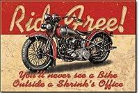 """アート/アートワーク特集on aマグネット–Licensed Collectibles Nostalgic、ビンテージ、アンティーク、オリジナルデザイン–Great Motorcycleテーマ[ 3542801699]–Motorcycle """" Ride Free 。。。。You、決してSee a Bike外側A Shrink 's Office """" [ Greatイメージとスタイリッシュなデザイン]–マグネット[ tsfd ]"""