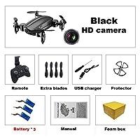 カメラなしのミニドローンHD折りたたみ式RCクアッドコプター高度ホールドヘリコプターWiFi FPVマイクロポケットセルフィードロン、黒0.3MP 3B F