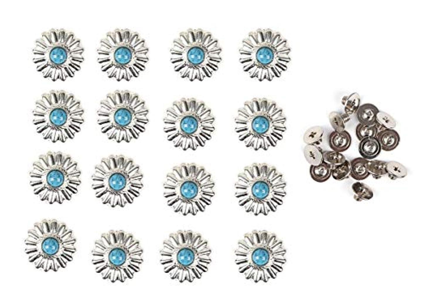 征服会議抵抗力があるレザークラフト 用 ターコイズ ブルー ネジ式 小菊 コンチョ 16個セット 飾り ボタン ハンドメイド