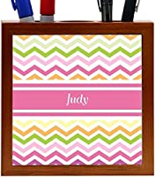 Rikki Knight Judy Pink Chevron Name Design 5-Inch Wooden Tile Pen Holder (RK-PH7202) [並行輸入品]