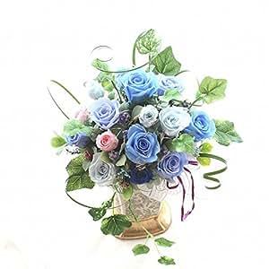 青いバラ ブリザーブドフラワー 白い磁器